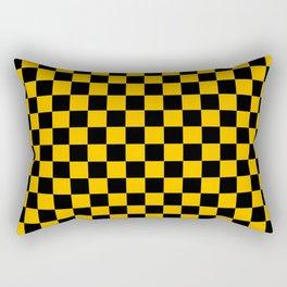 Black and Amber Orange Checkerboard Rectangular Pillow