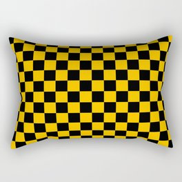 Black and Amber Orange Checkerboard Rectangular Pillow