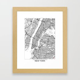 New York City Neutral Map Art Print Framed Art Print