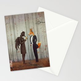 Raven and Fox in  a dark forest looking at the watch Stationery Cards
