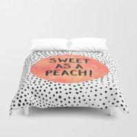 peach Duvet Covers featuring Sweet as a peach! by Elisabeth Fredriksson