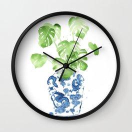 Ginger Jar + Monstera Wall Clock