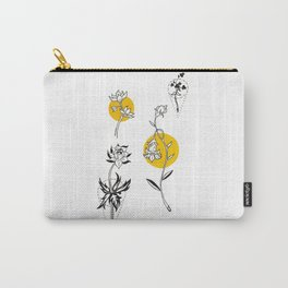 Wildflowers Circular Gold Ink Illustration Carry-All Pouch