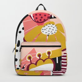 Collage Flowers pink, gold, white, black Backpack