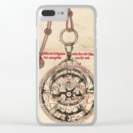 Libros del saber (1276) - Diagram of an Astrolabe Clear iPhone Case