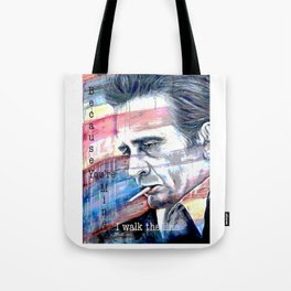 """Johnny Cash Painting """"I Walk The Line"""" Tote Bag"""