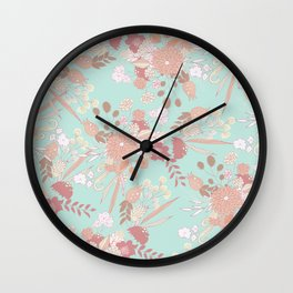 Vintage green pastel coral white rustic floral Wall Clock