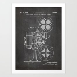 Film Projector Patent - Cinema Art - Black Chalkboard Art Print