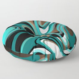 Liquify - Brown, Turquoise, Teal, Black, White Floor Pillow