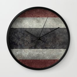 The National flag of Thailand, (formerly known as Siam) Vintage Desaturated version. Wall Clock