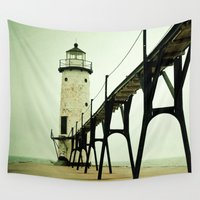 calm Wall Tapestries featuring Manistee Light by Olivia Joy StClaire