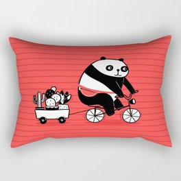 Cacti delivery. Panda on bicycle. Rectangular Pillow