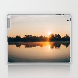 Dawn Mist Over Long Run Lake Laptop & iPad Skin