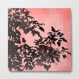 Leaves Silhouette - Peach Metal Print