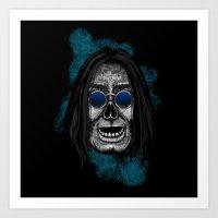 Ozzy style Errorface Skull Art Print