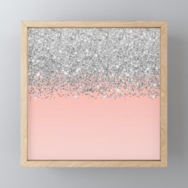 Girly Chic Silver Confetti Pink Gradient Ombre Framed Mini Art Print