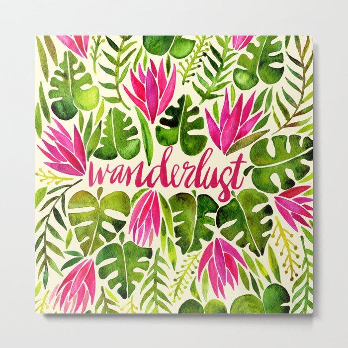 Tropical Wanderlust – Pink & Lime Metal Print