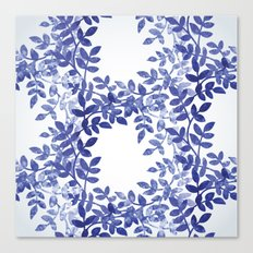 Delicate watercolor pattern with leaves Canvas Print