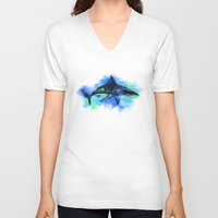 shark V-neck T-shirts featuring Shark by Riaora Creations