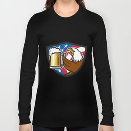Bald Eagle Hoisting Beer Stein USA Flag Crest Retro Long Sleeve T-shirt