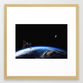 Earth, Moon, and the International Space Station Framed Art Print