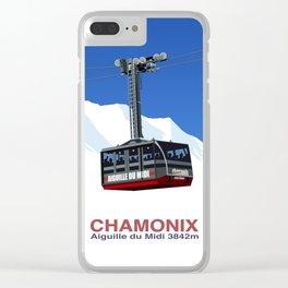 Chamonix Ski Resort , Aiguile du Midi Cable Car Clear iPhone Case