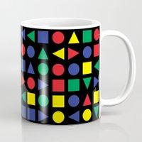 mid century Mugs featuring Mid Century Geometric by dukepope