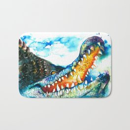 Crocodile Watercolor Painting Bath Mat