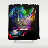 decal Shower Curtains featuring Fantasy forest by haroulita