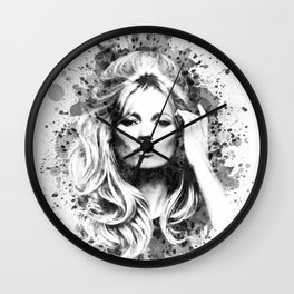 Watercolor Sixties Style Kate Moss Wall Clock