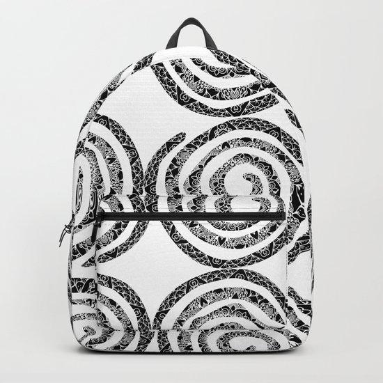 Black & White Patterned Spirals Backpack