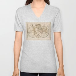 Mappemonde a l'usage du roy (World Map from 1720) Unisex V-Neck