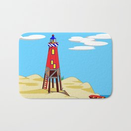 A Lighthouse on a Sandy Beach on a Sunny Day Bath Mat