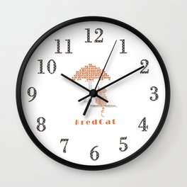 Funny Red Stitched Cat Wall Clock