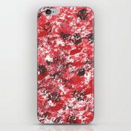 Red Camo Pattern Print Acrylic Artwork Black Splatter Painting iPhone Skin
