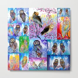 abstract owls Metal Print