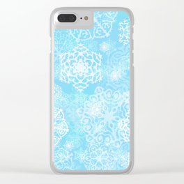 Snowflakes - Blue Clear iPhone Case