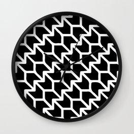 Lotus Flower Pattern Black and White  Wall Clock