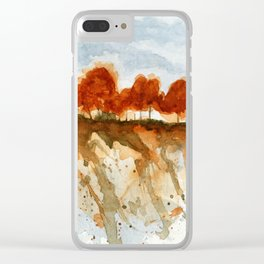 Firebranch Ridge, Watercolor Abstract Landscape Art Clear iPhone Case
