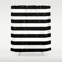 Black and White Stripes with Golden Dots Shower Curtain