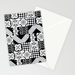 Black & White Mixed Square Tiles Patterns Stationery Cards