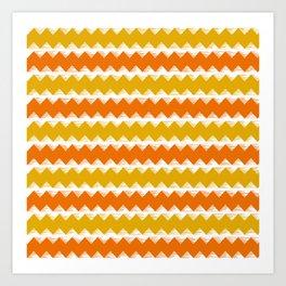 Gold and Orange Sawtooth Pattern Art Print
