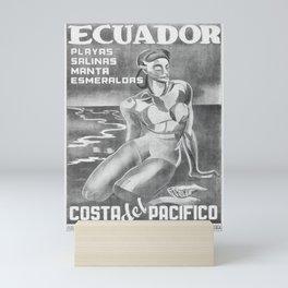 retro old Ecuador poster Mini Art Print