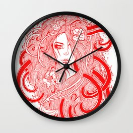 Rose Red.  Wall Clock