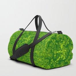 Mayan Spring GREEN / Ancient Mayan hieroglyphics mandala pattern Duffle Bag