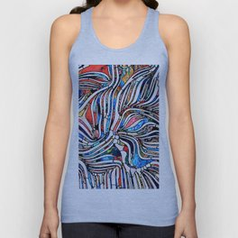 Broken Textures. Unity of Stained Glass series. Abstract arrangement of pattern of color and texture fragments on the subject of unity of fragmentation, art, poetry and design Unisex Tank Top