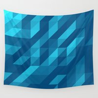 polygon Wall Tapestries featuring Polygon Five by Jambot