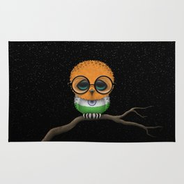 Baby Owl with Glasses and Indian Flag Rug