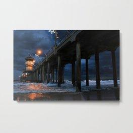 Stormy Pier Metal Print