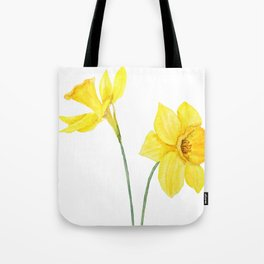 two botanical yellow daffodils watercolor Tote Bag